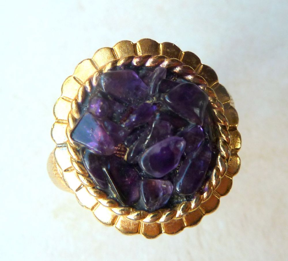 Vintage Amethyst Chip Ring By Exquisite